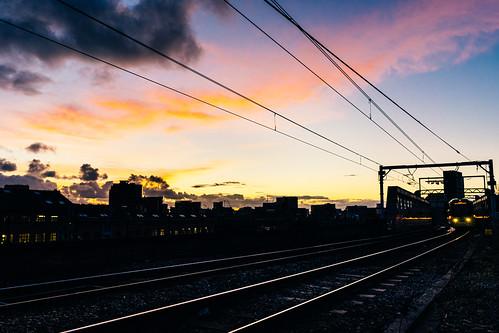manchester tram sunset sky sonyfe28mmf2 sonya7ii outside night red light clouds landscape pink train cloud