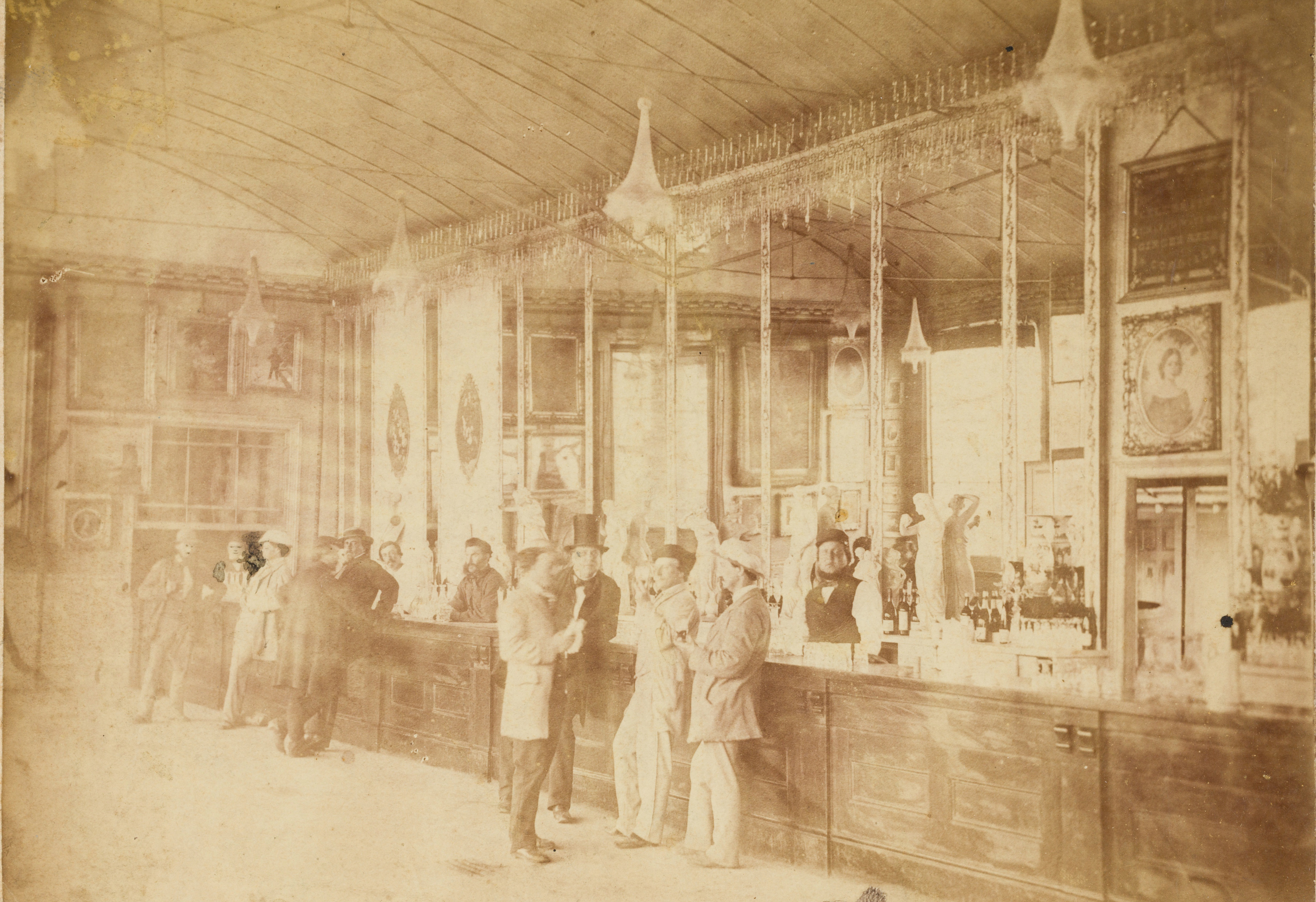 Bartenders and theatre manager George Coppin (in top hat), Crystal Bar, Cremorne Gardens,  Richmond, Victoria, ca. 1860