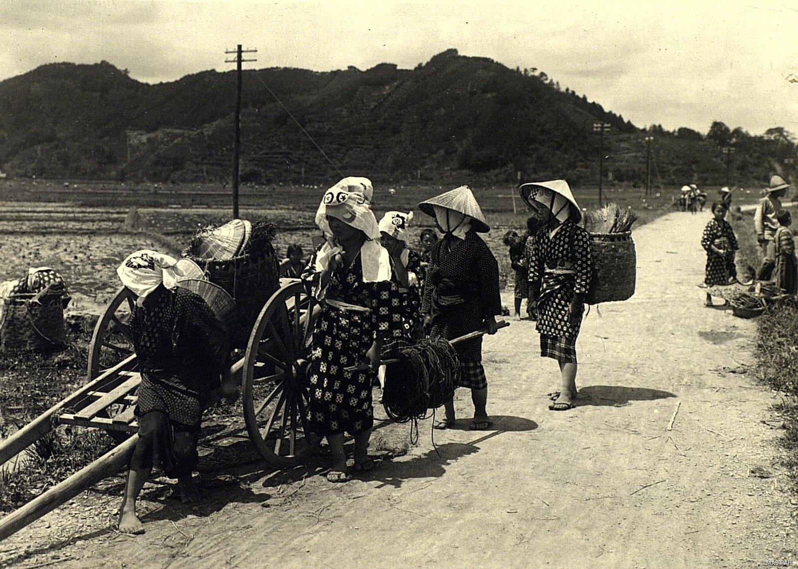 02. Крестьяне, возвращающиеся с поля домой. Префектура Токио
