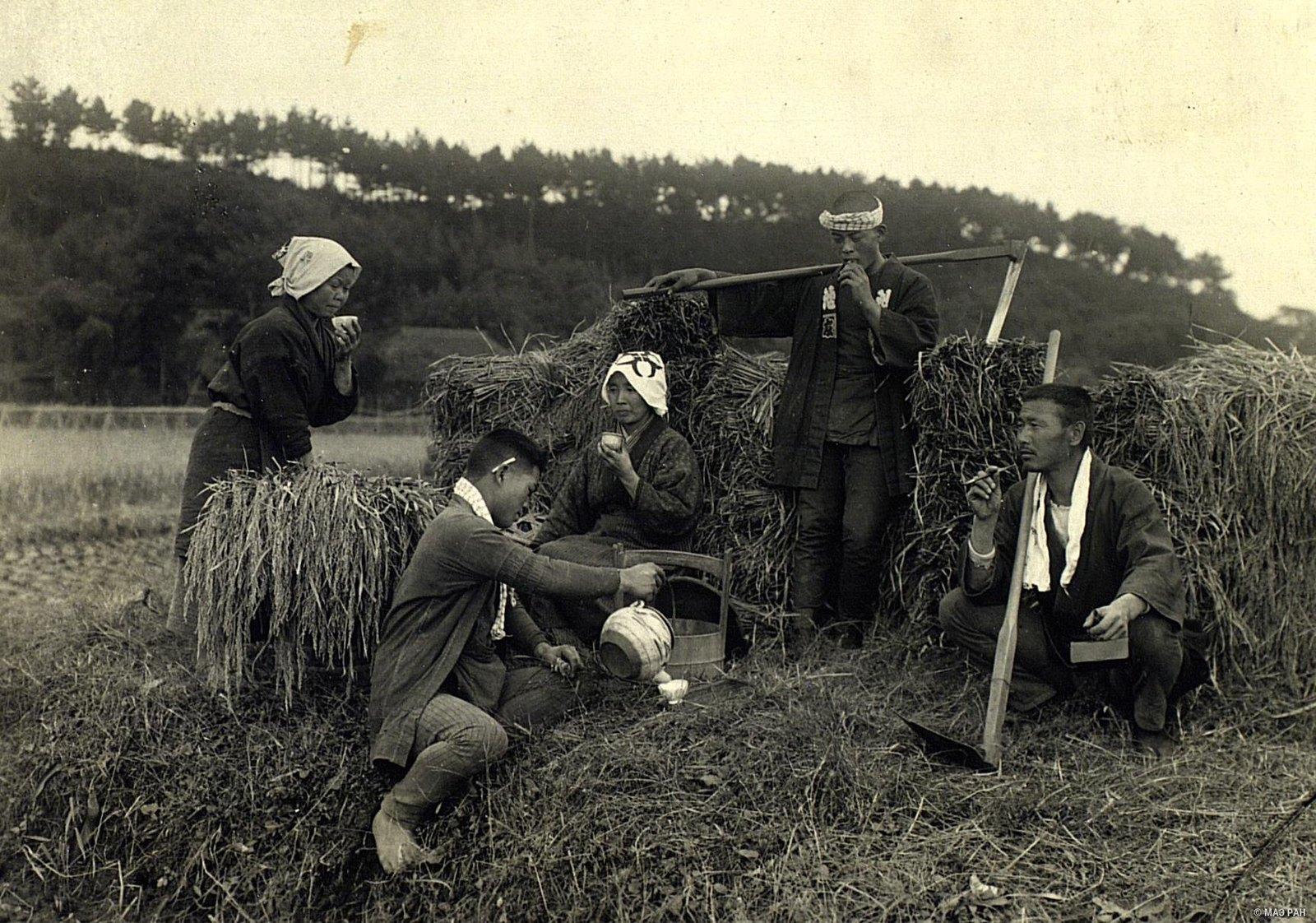 01. Крестьяне, отдыхающие в поле, во время сенокоса. Префектура Токио