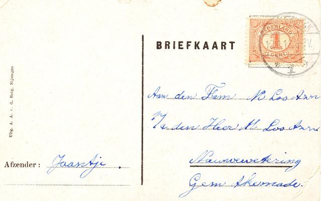 Nijmegen Mooi Ned briefkaart uitg AA vd Berg gelopen 1918 achter