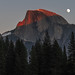 Moon Rising next to Half Dome