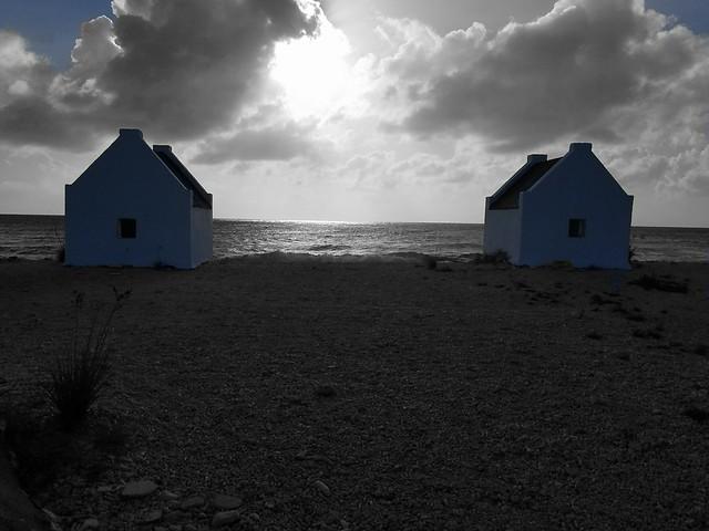 Historic Slave cabins, Bonaire salt flats. blackandwhite with a little bit of color colour