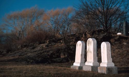 Three White Headstones