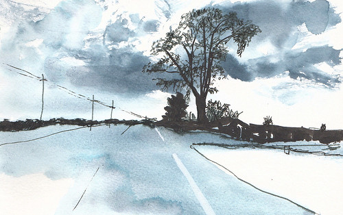 sketch nature pen penandink road sketchbook rural trees ink landscape