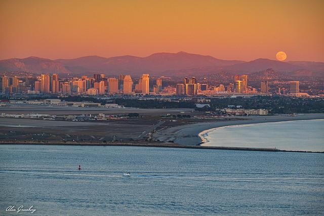 Moonrise over San Diego Bay