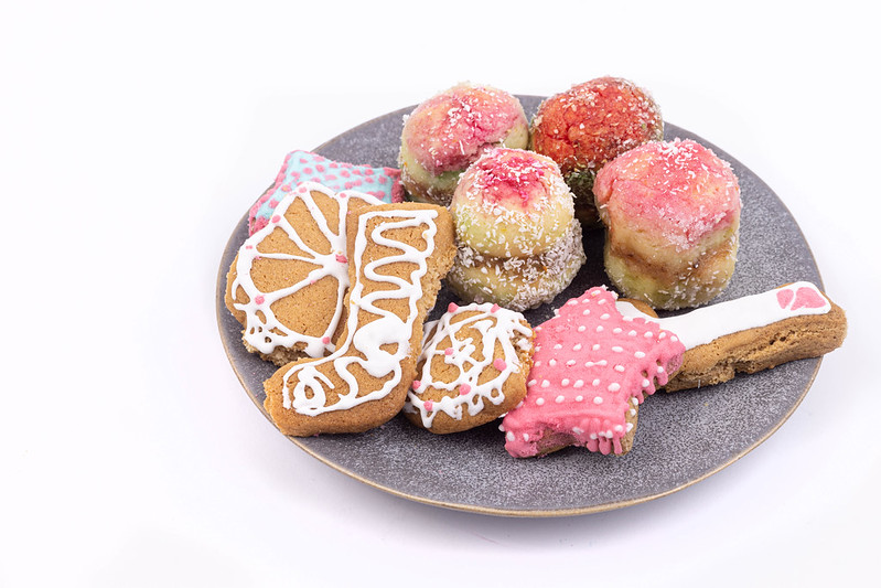 Christmas Cookies on the plate above white background with copy space