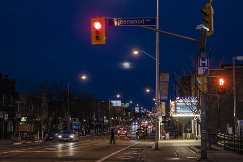 View of the Moon along the Danforth tonight