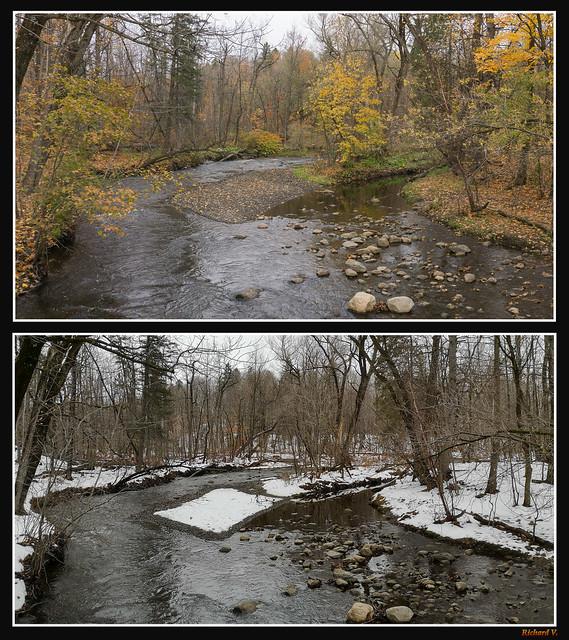 Montage de 2 photos de la rivière Berger, automne, hiver, Québec, PQ, Canada - 1716