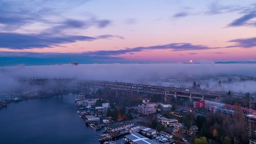 seattle drone sunset moon aerial northwest city inspire2 x5s weather bridge