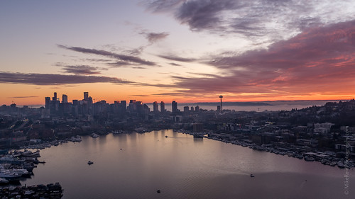 seattle drone sunset moon aerial northwest city inspire2 x5s weather