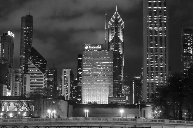 Black & White Chicago Skyline from Grand Park