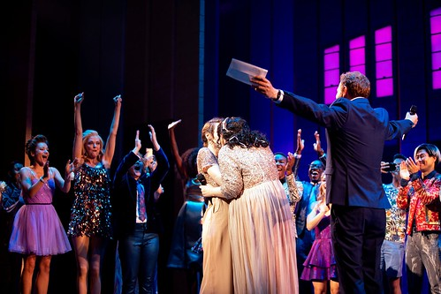 "Jody Kay Smith, left, and Armelle Kay Harper get married on stage after a performance of ""The Prom.""Credit...Calla Kessler/The New York Times"