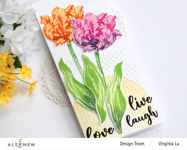 Altenew-BAF Parrot Tulips-Sphere Stencil-Feeling Dotty Stencil-Embossing Paste (2)