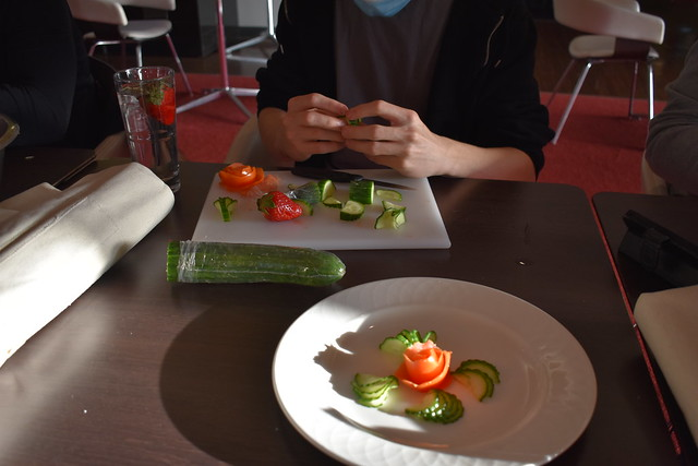 Catering Students Practice their Carving Skills
