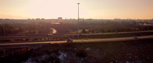 uav drone djimavicmini sunset aerialphotography highway417 thequeensway ottawa road city cityscape freeway