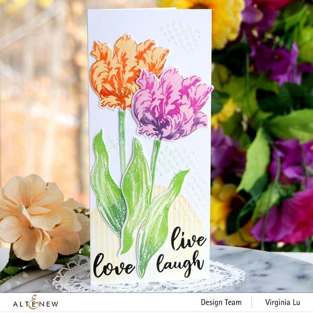 Altenew-BAF Parrot Tulips-Sphere Stencil-Feeling Dotty Stencil-Embossing Paste