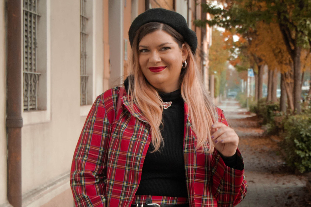 outfit curvy plus size completo tartan SHEIN (3)