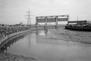Flood Barrier, Bow Creek, Newham, Tower Hamlets, 1983 36a-32_2400 | by peter marshall