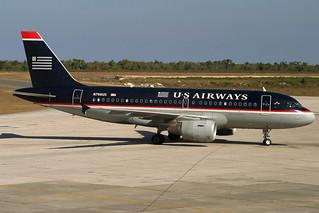 N766US. A-319. US Airways. SDQ.