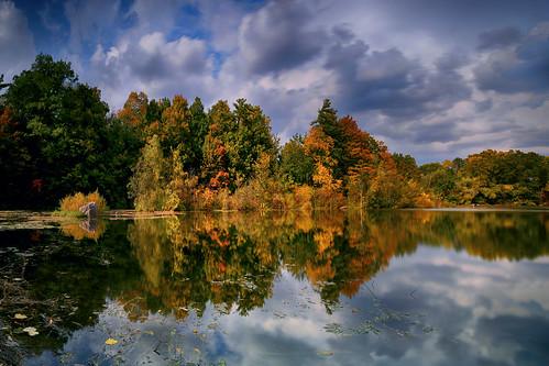 autumnvibes autumncolours autumn fallcolours fall landscape lake reflection millpond miltonontario dramaticsky canon5dmarkiii ef2470mmf28liiusm leefilters longexposure 20seconds cloudy clouds lifeng