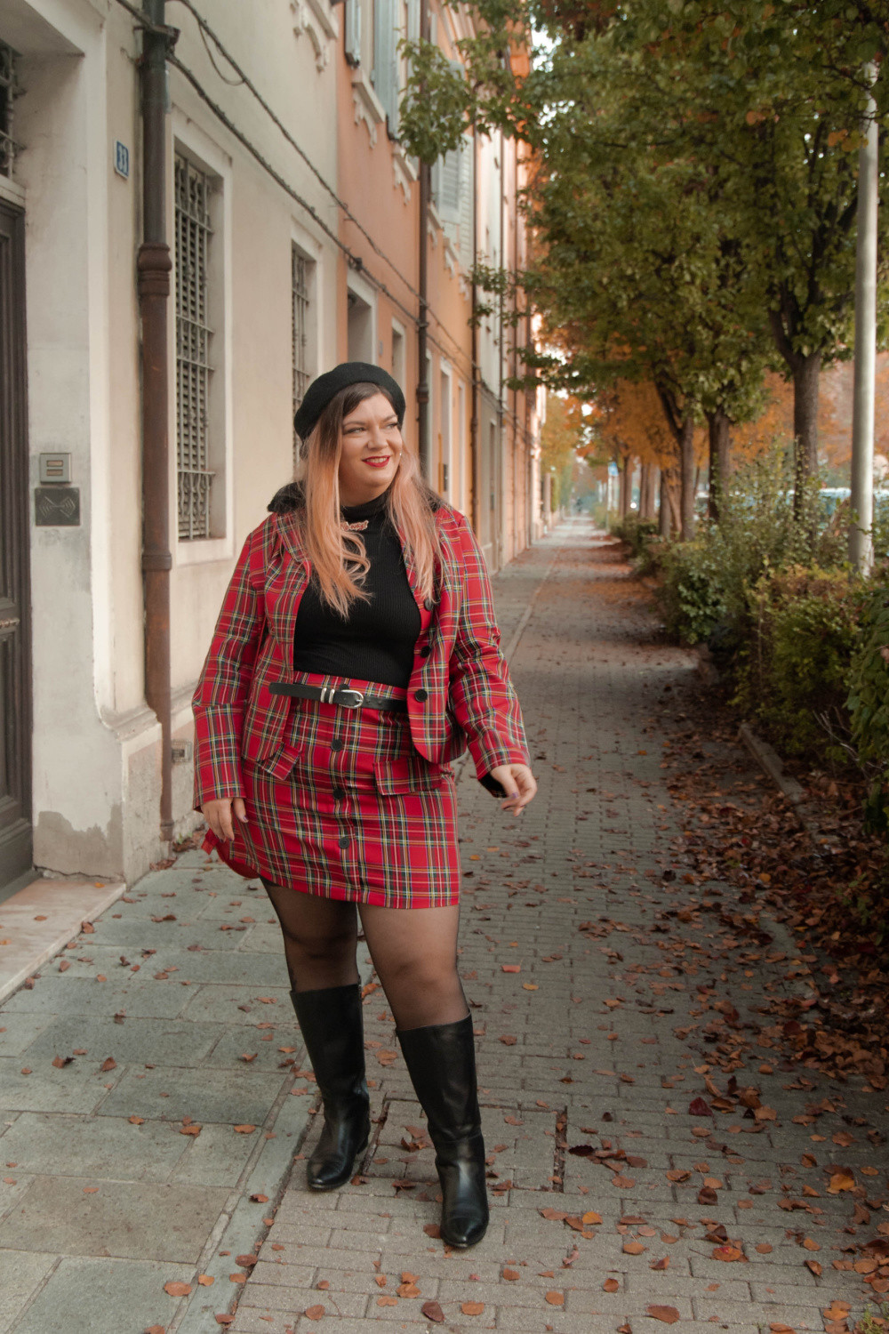 outfit curvy plus size completo tartan SHEIN (8)