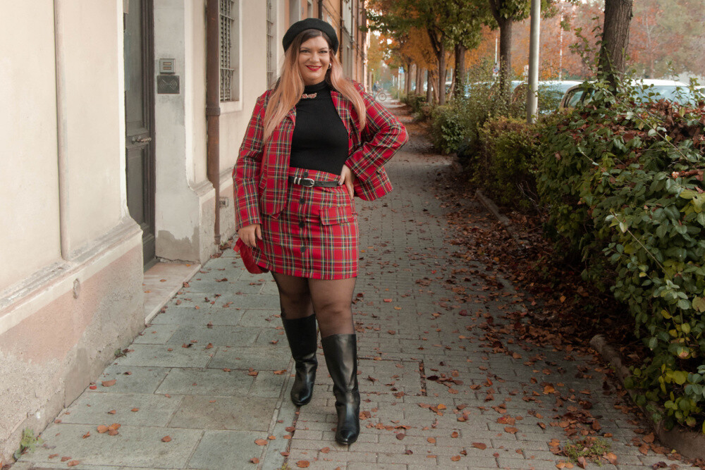 outfit curvy plus size completo tartan SHEIN (7)