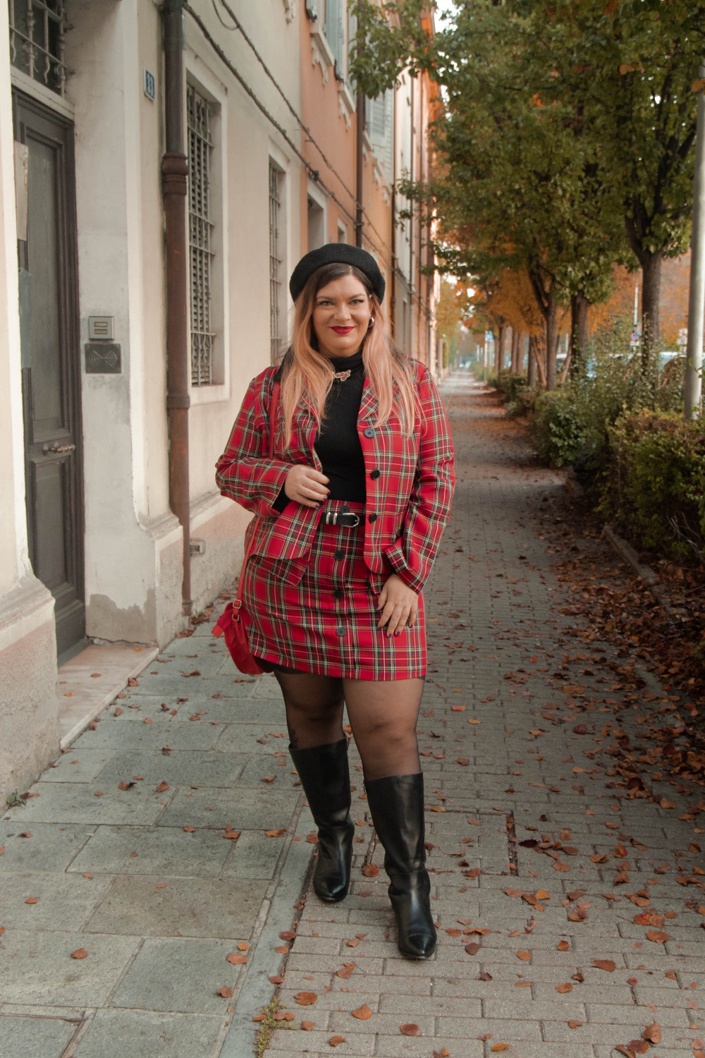 outfit curvy plus size completo tartan SHEIN (5)