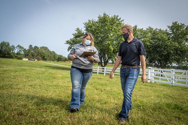 FSA Program Technician Jessica Clarke talks with Maryland producer Ethan Whiteside