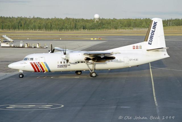 SAS Commuter Fokker 50 OY-KAI at ENGM/OSL 13-08-1999