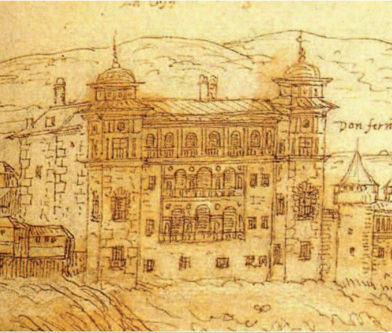 Palacio de Vargas en la vista de Anton van Wyngaerde en 1563