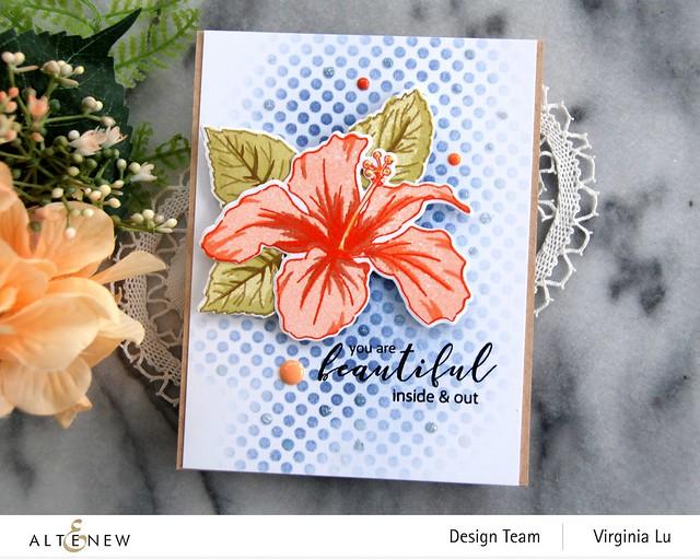 Atenew-Quiet Reflections Crisp Dye Ink Oval Bundle-You Are Beautiful Stamp & Die Bundle-Feeling Dotty Stencil -003