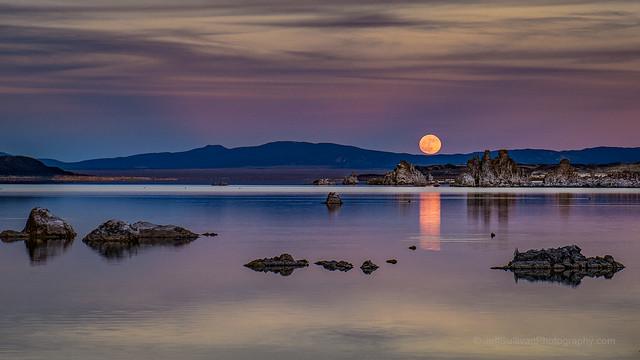 Mono Lake Moon Rise Reflection