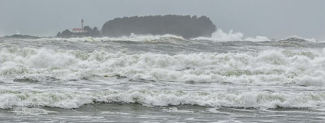 Lennard Island Lighthouse, from Cox Bay, Vancouver Island during winter storm