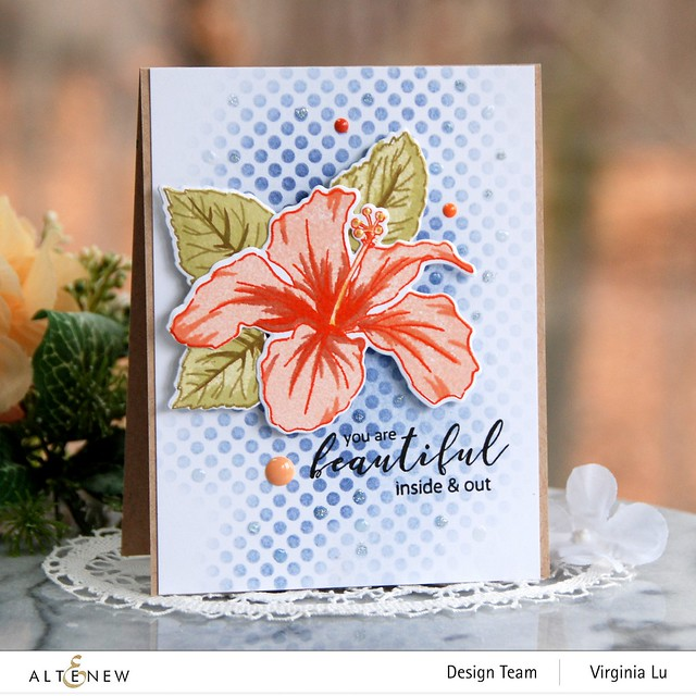 Atenew-Quiet Reflections Crisp Dye Ink Oval Bundle-You Are Beautiful Stamp & Die Bundle-Feeling Dotty Stencil