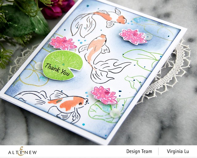 Altenew-Goldfish Pond Stamp Set-Quiet Reflections Crisp Dye Ink Oval Bundle-001