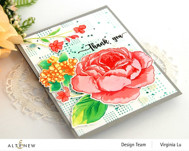 Altenew-Tranquility Rose Stamp Set-Tranquility Rose Die Set-Tranquility Rose Stencil Set-Dots and Boxes Stamp Set-002