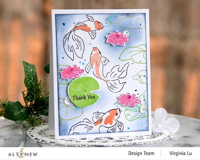 Altenew-Goldfish Pond Stamp Set-Quiet Reflections Crisp Dye Ink Oval Bundle (2)