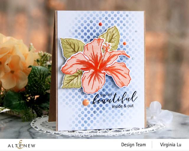 Atenew-Quiet Reflections Crisp Dye Ink Oval Bundle-You Are Beautiful Stamp & Die Bundle-Feeling Dotty Stencil -001