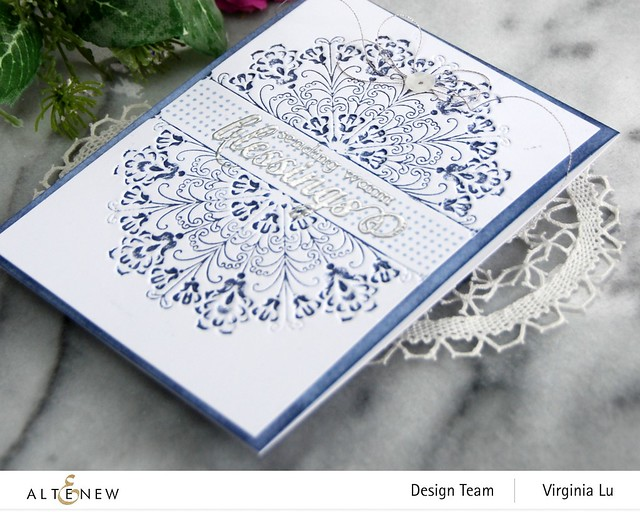 Altenew-Ornamental Feature 3D Embossing Folder-Dots and Boxes Stamp Set-Arctic Mountain Crisp Dye Ink-WarmBlessings-001
