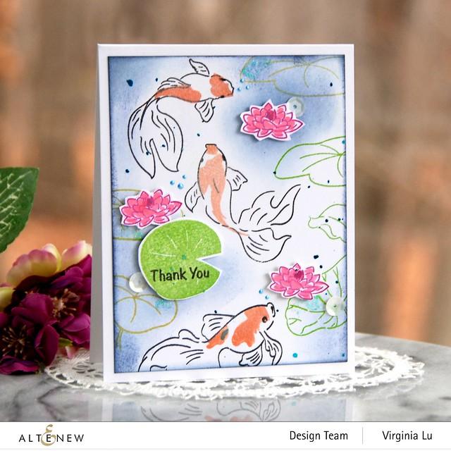 Altenew-Goldfish Pond Stamp Set-Quiet Reflections Crisp Dye Ink Oval Bundle