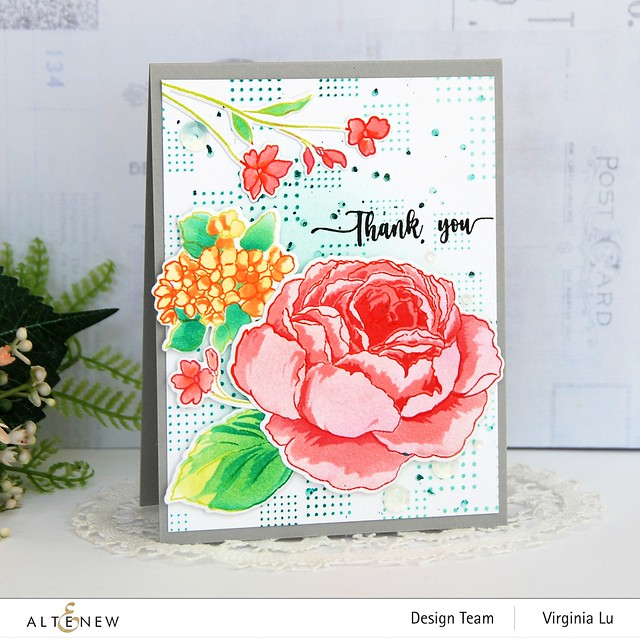 Altenew-Tranquility Rose Stamp Set-Tranquility Rose Die Set-Tranquility Rose Stencil Set-Dots and Boxes Stamp Set