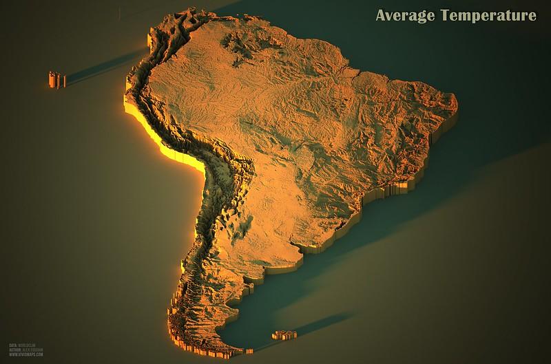 Average temperatures in South America