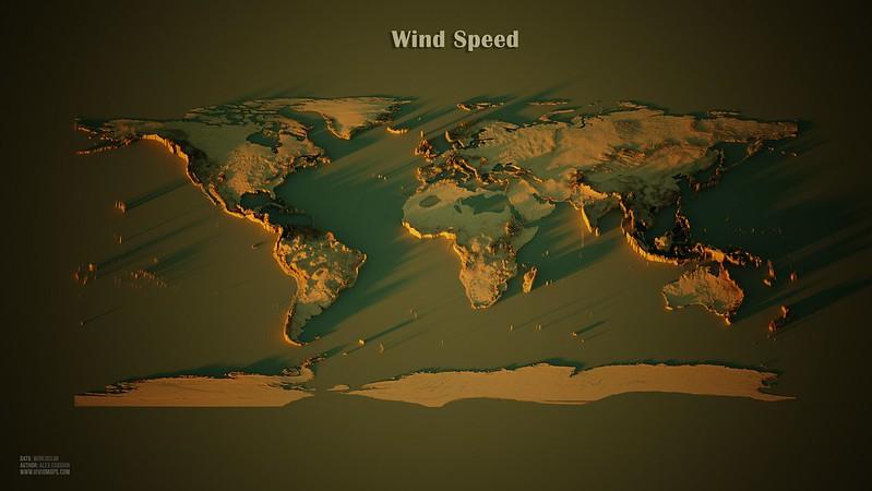World map of Wind Speed