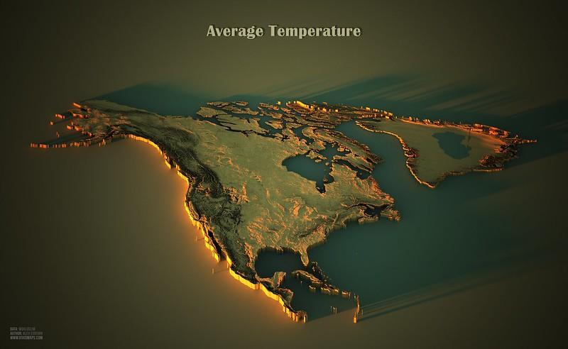 Average temperatures in North America