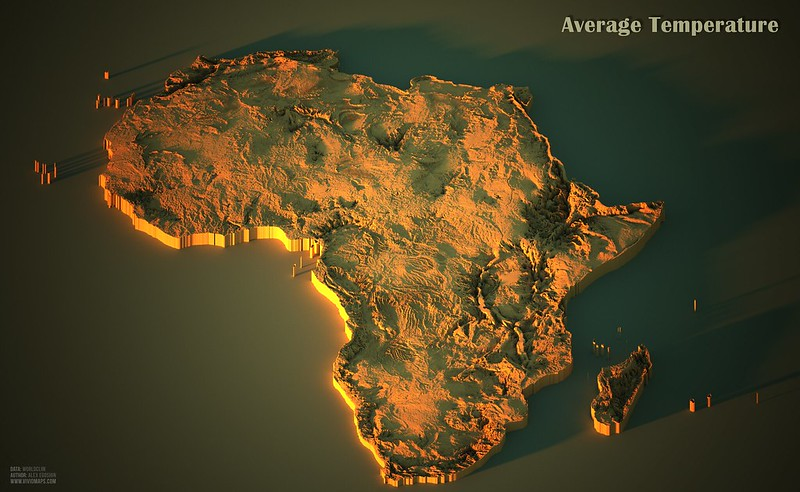 Average temperatures in Africa