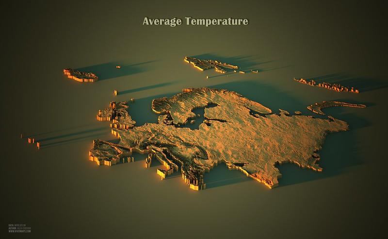 Average temperatures in Europe