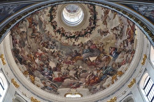 Fresque de la coupole de Filippo Juvarra, basilique Saint André, Mantoue, province de Mantoue, Lombardie, Italie.