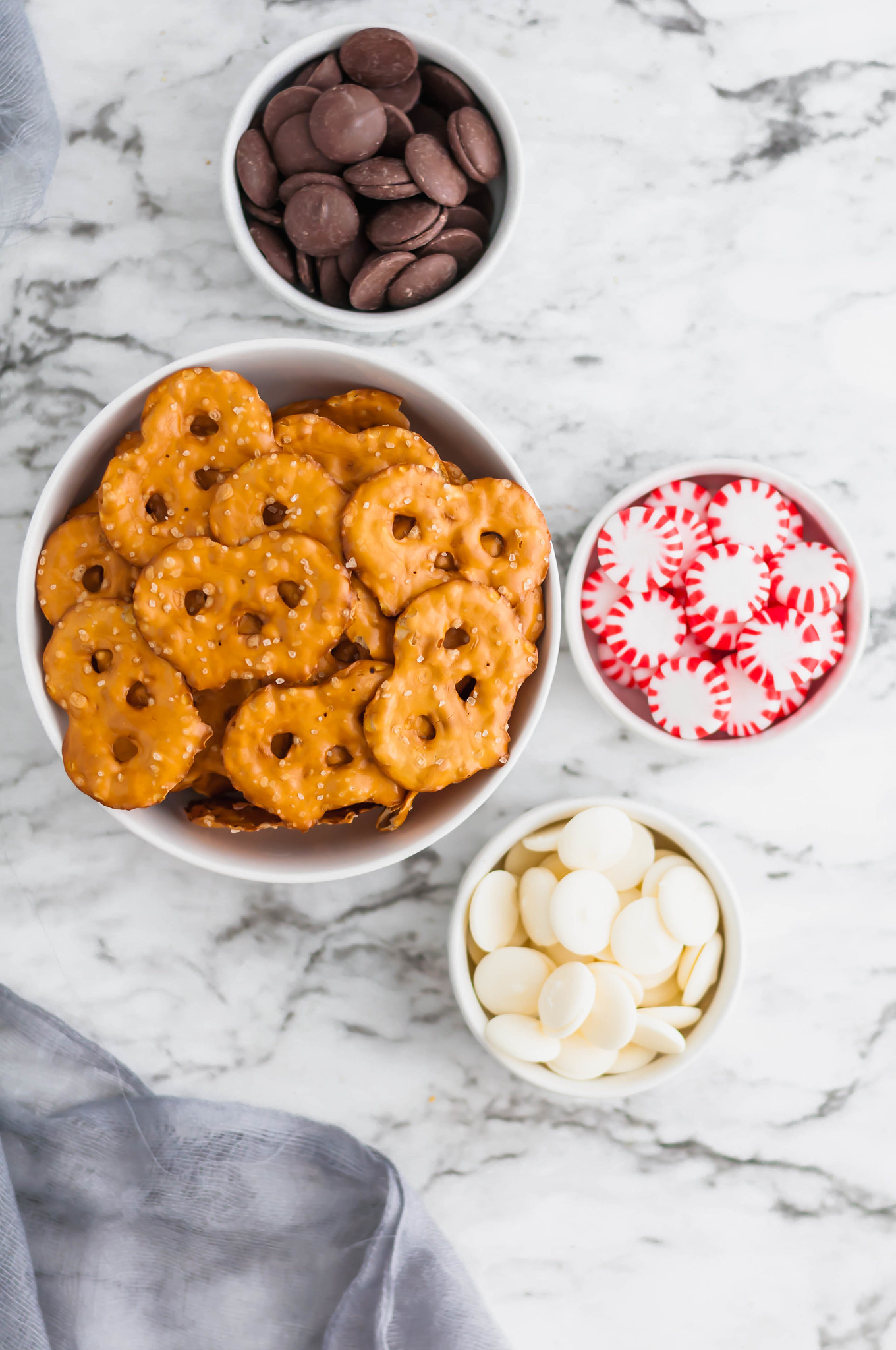 Ingredients for Chocolate Peppermint Pretzels. Looking for a delicious sweet and salty treat this holiday season? These Chocolate Peppermint Pretzels are just what you need. Only 4 ingredients and about 20 minutes needed to make these yummy treats. Perfect for Christmas cookie trays and homemade gifts.