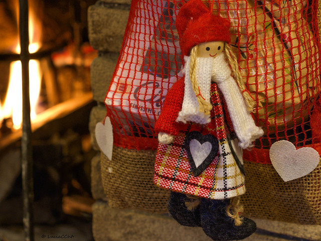 Rustic Christmas bag by the fireplace